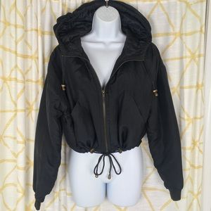 ESSENTIALE CLUB 90s 100% Silk Hooded Lined Jacket
